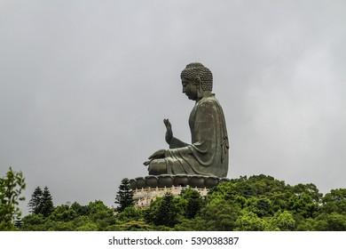 NGONG PING , HONG KONG , JUNE 30 : The Tian Tan Buddha statue at Ngong Ping 360 is the tourist attraction at Ngong Ping village , Hong Kong on June 30 2016.