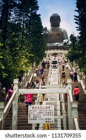 Ngong Ping, Lantau Island, Hong Kong - July 4, 2018: Tian Tan Buddha