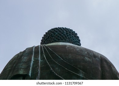Ngong Ping, Lantau Island, Hong Kong - July 4, 2018:  Back View of Tian Tan Buddha