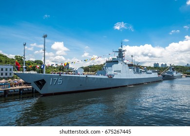Ngong Shuen Chau Naval Base, Hong Kong  - June 9, 2017 : Yinchuan (number 175) missile destroyer visited Hong Kong and was opened to the public.