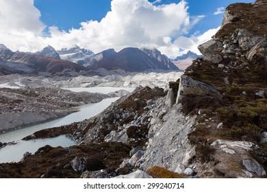 Ngozumpa glacier river near Gokyo. Everest Base Camp trail route, Nepal trekking, Himalaya mountains traveling.