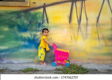 Ngu My Thanh mural village, Quang Loi commune, Hue, Vietnam - May 8, 2020: Rustic and simple walls of Ngu My Thanh village, Quang Loi commune, Quang Dien, Thua Thien Hue was inspired by vivid painting