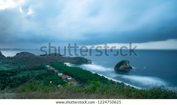 Ngudel Beach One Best Malang Name Nature Stock Image 1224750625