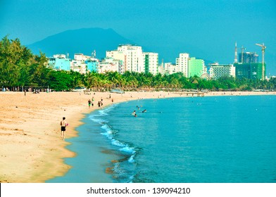 Nha Trang beach in the morning. Nha Trang is a coastal city in Vietnam, famous with beautiful beaches and bays