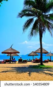Nha Trang beach, Vietnam. Nha Trang is a coastal city in Vietnam, famous with beautiful beaches and bays