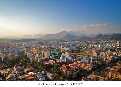 Nha Trang city panorama with mountains Vietnam