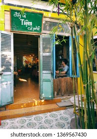 Nha Trang, Vietnam - 15th April, 2019 - Coffee shop with vintage interior decoration in Nha Trang, Vietnam - the best coffee corner for visitors