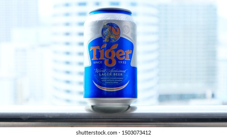 NHA TRANG, VIETNAM. 2019 Jun 30th. Tiger Beer Can on Balcony against Beautiful Cityscape