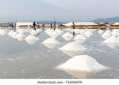 NHA TRANG, VIETNAM - 4/12/2016: The Hon Khoi salt fields in Nha Trang, Vietnam.