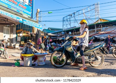 NHA TRANG, VIETNAM - AUGUST 06: A woman sells seafood at the street market on August 06, 2018 in Nha Trang, Vietnam.