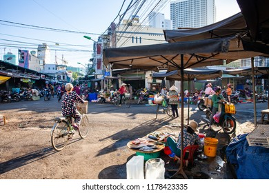 NHA TRANG, VIETNAM - AUGUST 06: Early morning life on the vietnamese street market on August 06, 2018 in Nha Trang, Vietnam.
