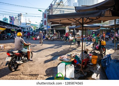 NHA TRANG, VIETNAM - AUGUST 06: Early morning life on the vietnamese street market on August 06, 2018 in Nha Trang, Vietnam.