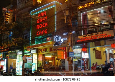 NHA TRANG, VIETNAM - CIRCA MARCH 2014: Neon signs for bars and restaurants on the main strip