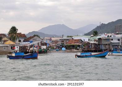 Nha Trang, Vietnam, January, 18, 2015. Boats near fishing village on the river Kai in Nha Trang