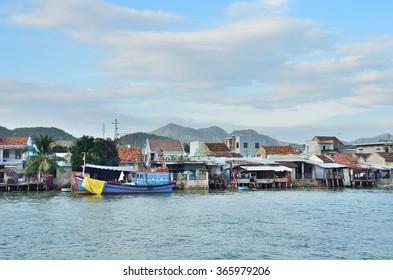 Nha Trang, Vietnam, January, 18, 2015. Nobody, fishing village on the Cai river at dusk