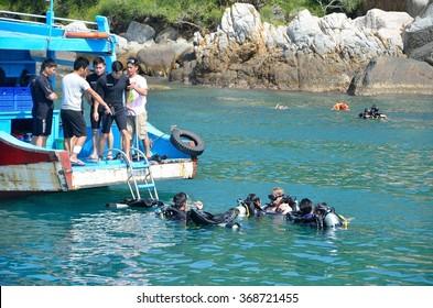 Nha Trang, Vietnam, January 22, 2015, the Bay of Nha Trang, scuba diving lesson