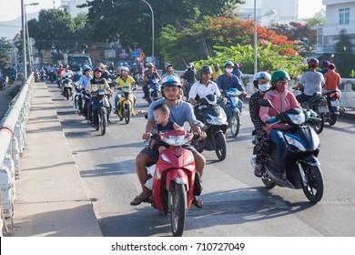 NHA TRANG, VIETNAM - JULY 2017: View of the central streets of Nha Trang, Vietnam