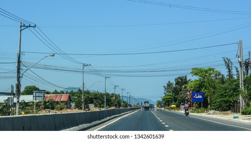 Nha Trang, Vietnam - Mar 20, 2016. Highway at summer day in Nha Trang, Vietnam. The total length of the Vietnam road system is about 222,179 km.