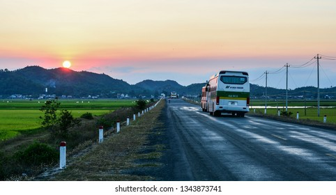 Nha Trang, Vietnam - Mar 20, 2016. Cars run on highway at sunset in Nha Trang, Vietnam. The total length of the Vietnam road system is about 222,179 km.