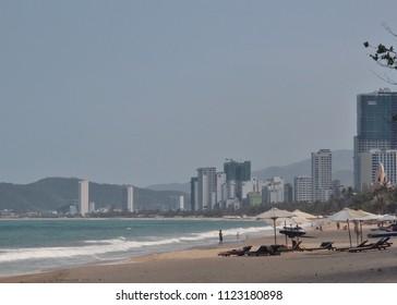Nha Trang, Vietnam - march 23 2018: East sea and beach