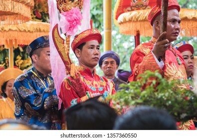 Nha Trang, Vietnam - May 5, 2018: participants of a ceremonial costume procession of Po Nagar Temple celebration (Le hoi Thap Ba Ponagar). The festival is one of the best celebrations of the city.
