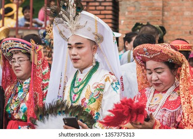 Nha Trang, Vietnam - May 5, 2018: participants of a costume procession of Po Nagar Temple celebration (Le hoi Thap Ba Ponagar). The festival is one of the best celebrations of the city.