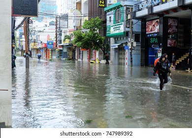 "Nha Trang, Vietnam - Nov 04, 2017:  Nha Trang city after hit by typhoon named Damrey – a Khmer word meaning ""elephant."" The storm will be Vietnam's 12th this year."