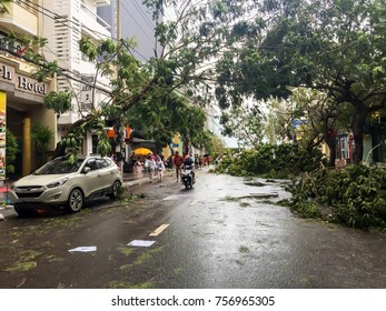 """Nha Trang, Vietnam - Nov 04, 2017:  Nha Trang city after hit by typhoon named Damrey – a Khmer word meaning """"elephant."""" The storm will be Vietnam's 12th this year."""