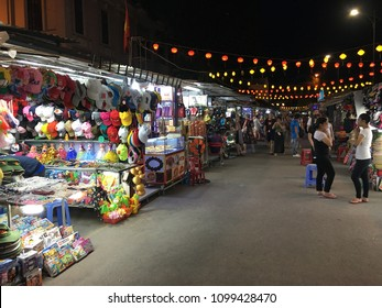 NHA TRANG, VIETNAM - OCTOBER 2017: Night market at Nha Trang city on Tran Phu street. Nha Trang is a popular sea resort in southern Vietnam.