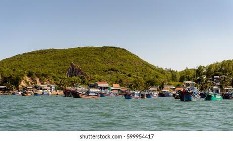 NHA TRANG, VIETNAM - SEP 30, 2014: Boat saisl on the  South China Sea, Vietnam. South China Sea is 3,500,000 square kilometres