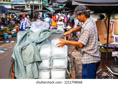 NHA TRANG, VIETNAM - SEPTEMBER 12: A Vietnamese man sell ice at the Cho Dam market in Nha Trang on September 12, 2018 in Nha Trang, Vietnam.
