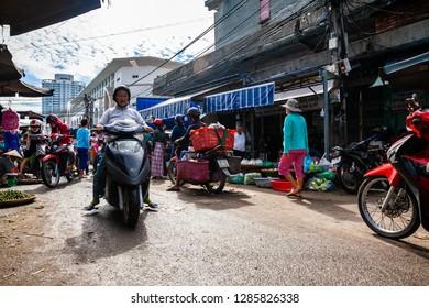 NHA TRANG, VIETNAM - SEPTEMBER 12: Typical morning traffic jam at the Cho Dam market in Nha Trang on September 12, 2018 in Nha Trang, Vietnam.