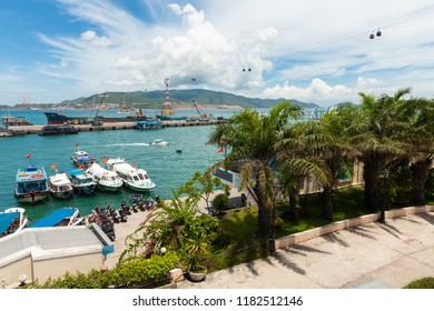 Nha trang, Vietnam - September 13, 2018: A beautiful daytime view of the Nha Trang port and Vinpearl Cable Car on September 13, 2018 in Nha Trang, Vietnam.