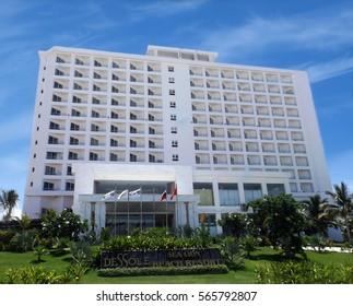 NHA TRANG,VIETNAM - JUNE 12,2016: Dessole Lion Beach Resort facade. The hotel sits on the beautiful Bai Dai Beach overlooking the South China Sea.