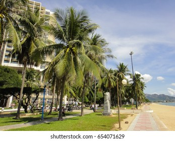NHA TRANG/VIETNAM - SEPTEMBER 7 2012: Streets and buildings of Nha Trang City in Vietnam. Southeast Asia