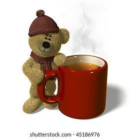Nhi Bear stands next to a steaming mug of tea.