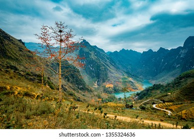 Nho Que Lake and Ma Pi Leng Mountain  one of the most beautiful is a mountain lake  in Ha Giang, Vietnam.