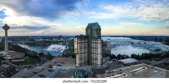 Niagara, Canada, August, 2015: Niagara Falls and Buildings in panorama vintage view