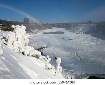 NIAGARA, CANADA - FEB 2, 2009: Niagara River with Rainbow Bridge and American Falls in winter, Ontario, Canada