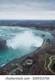 Niagara Canadian falls during Winter in vertical