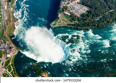 Niagara Falls Aerial View from helicopter, Canadian Falls, Ontario, Canada