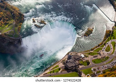 Niagara Falls Aerial View.  An aerial view of the Horseshoe Falls, a part of the Niagara Falls.  The falls straddle the border between America and Canada.