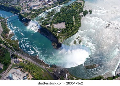 Niagara Falls American and Canadian side above view from Helicopter