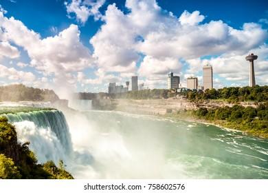 Niagara Falls: American Falls, New York State, USA & Horseshoe Falls. Ontario, Canada