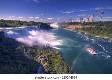 Niagara Falls And American Falls with Rainbow, New York, USA