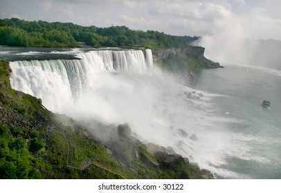 Niagara Falls from the American Side - wide view.