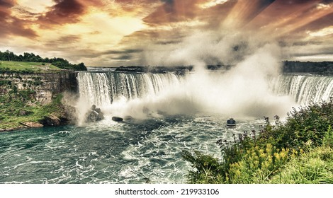 Niagara Falls. Beautiful side view at summer time.