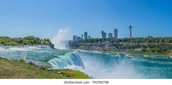 Niagara falls between United States of America and Canada on a Sunny Summer day.