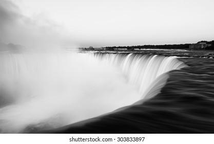 Niagara Falls in black and white photo, Canada, canadian Niagara falls, artistic photo of Falls