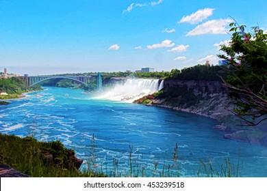 Niagara falls with Niagara bridge from the Canada side.